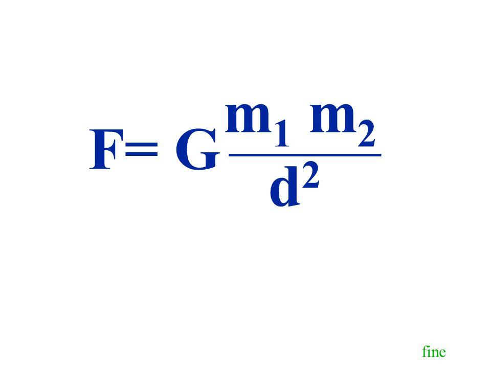 fine F= G m 1 m 2 d2d2
