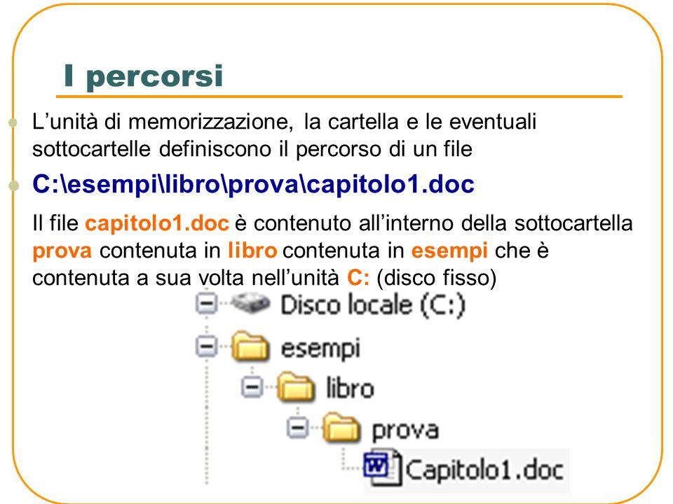 I collegamenti I collegamenti sono delle icone che permettono allutente di raggiungere direttamente un file senza doverne conoscere ogni volta la posizione nella memoria di massa La posizione di un file o di una cartella su memoria di massa prende il nome di percorso