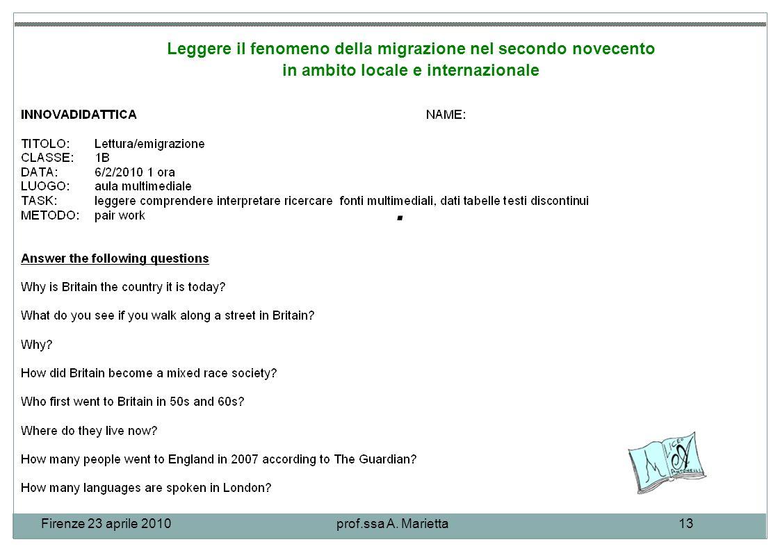 Firenze 23 aprile 2010prof.ssa A. Marietta13.