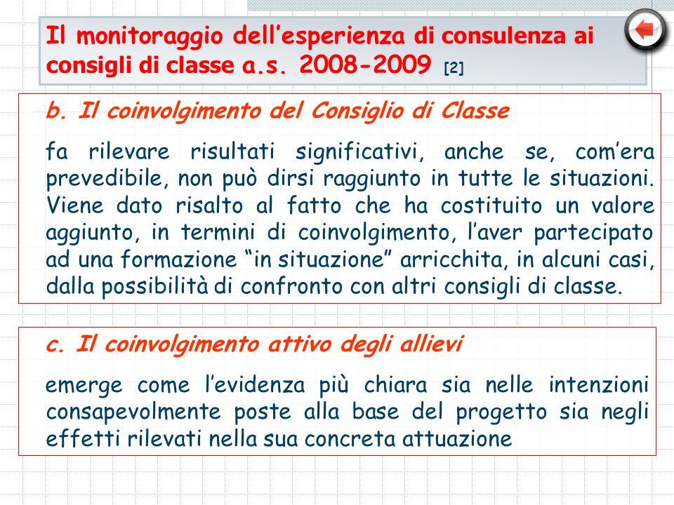 Il monitoraggio dellesperienza di consulenza ai consigli di classe a.s. 2008-2009 [2] b. Il coinvolgimento del Consiglio di Classe fa rilevare risulta