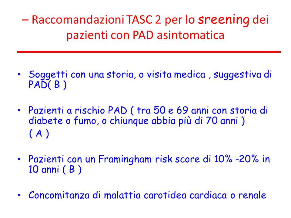 – Raccomandazioni TASC 2 per lo sreening dei pazienti con PAD asintomatica Soggetti con una storia, o visita medica, suggestiva di PAD( B ) Pazienti a