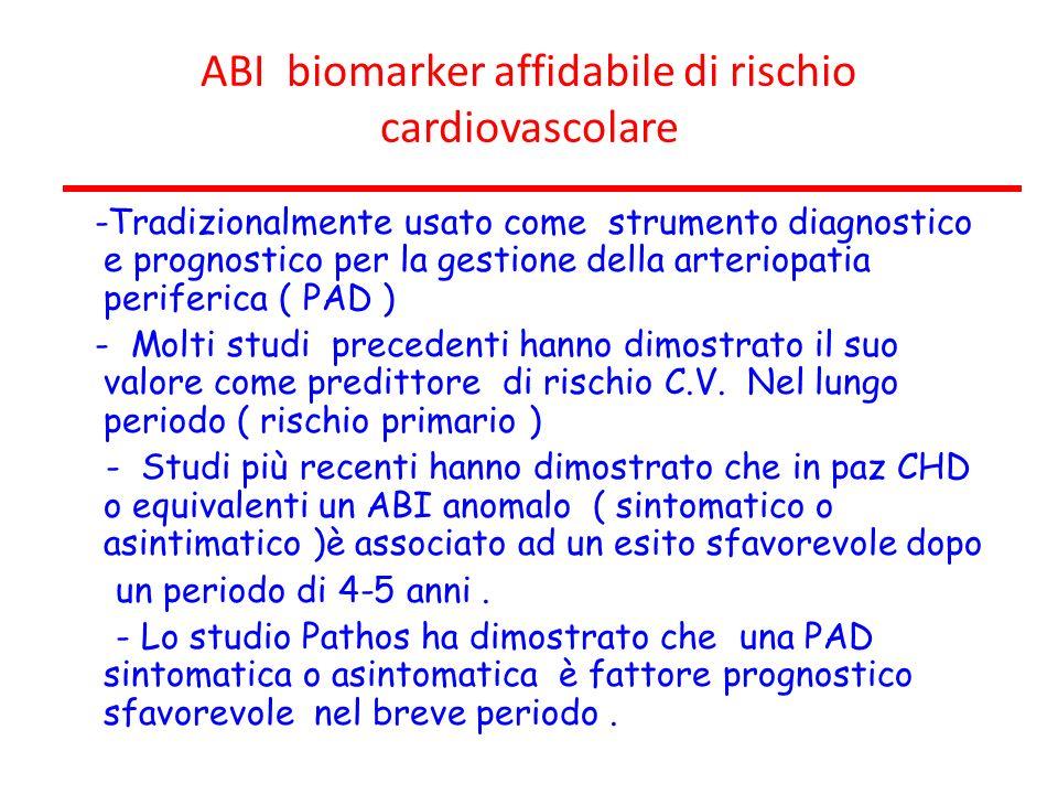 ABI biomarker affidabile di rischio cardiovascolare -Tradizionalmente usato come strumento diagnostico e prognostico per la gestione della arteriopati