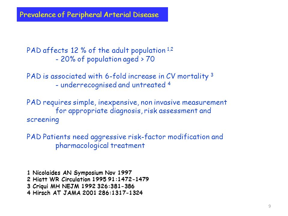 9 Prevalence of Peripheral Arterial Disease PAD affects 12 % of the adult population 1,2 - 20% of population aged > 70 PAD is associated with 6-fold i