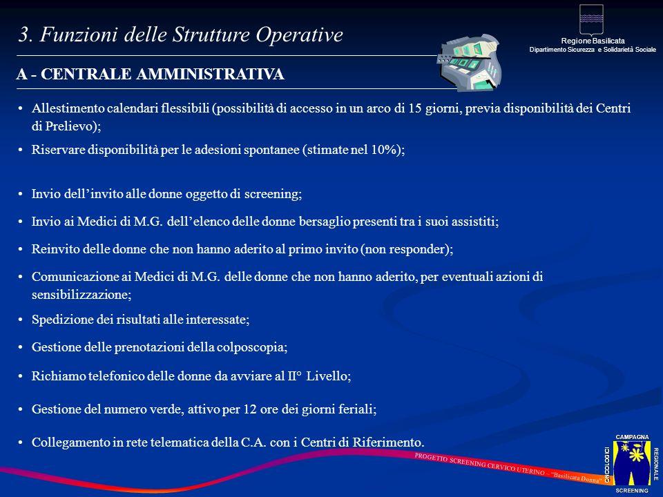 A - CENTRALE AMMINISTRATIVA Allestimento calendari flessibili (possibilità di accesso in un arco di 15 giorni, previa disponibilità dei Centri di Prel