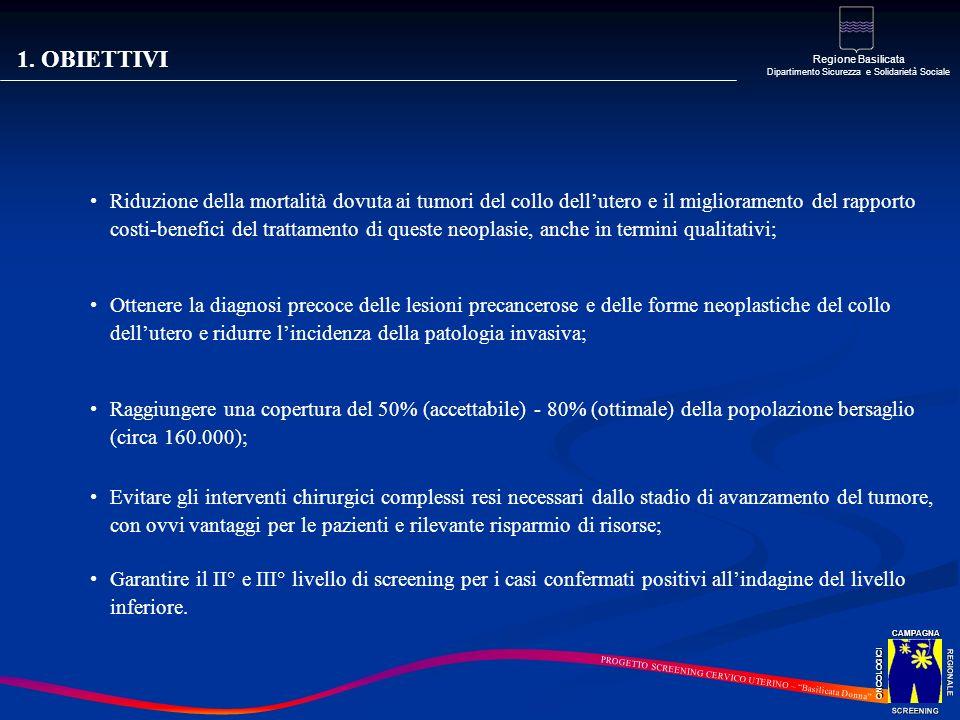 1. OBIETTIVI Riduzione della mortalità dovuta ai tumori del collo dellutero e il miglioramento del rapporto costi-benefici del trattamento di queste n