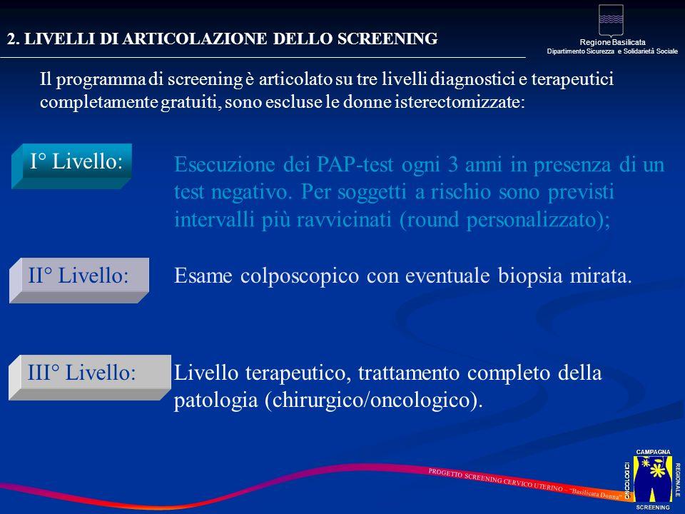 2. LIVELLI DI ARTICOLAZIONE DELLO SCREENING Il programma di screening è articolato su tre livelli diagnostici e terapeutici completamente gratuiti, so