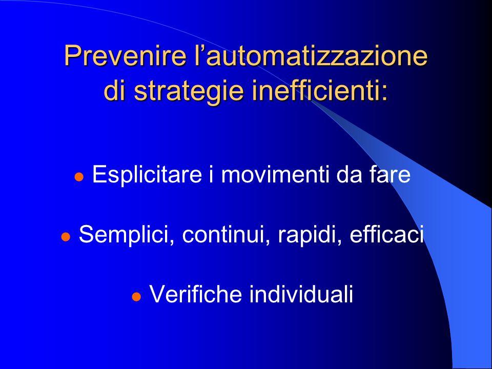 Prevenire lautomatizzazione di strategie inefficienti: Esplicitare i movimenti da fare Semplici, continui, rapidi, efficaci Verifiche individuali