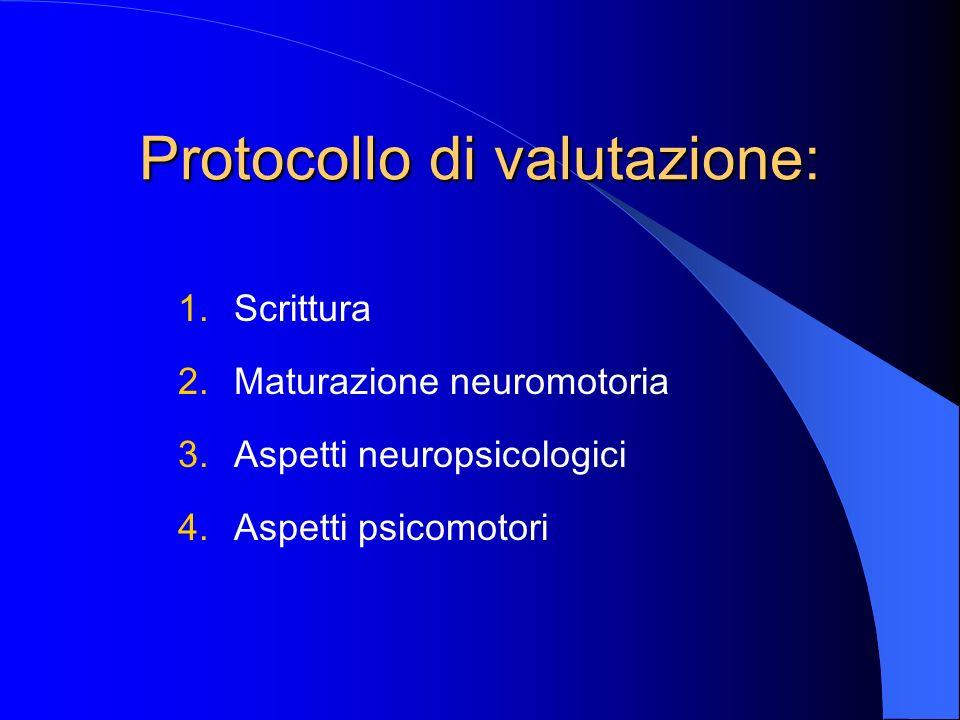 Protocollo di valutazione: 1.Scrittura 2.Maturazione neuromotoria 3.Aspetti neuropsicologici 4.Aspetti psicomotori