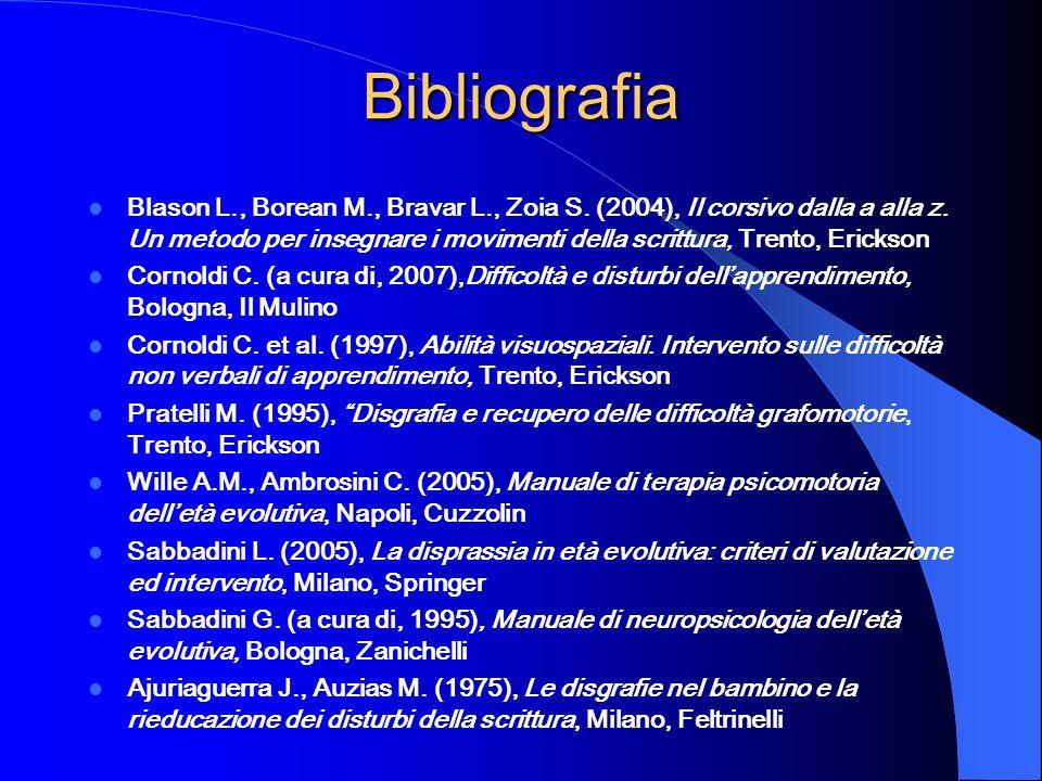 Bibliografia Blason L., Borean M., Bravar L., Zoia S. (2004), Il corsivo dalla a alla z. Un metodo per insegnare i movimenti della scrittura, Trento,