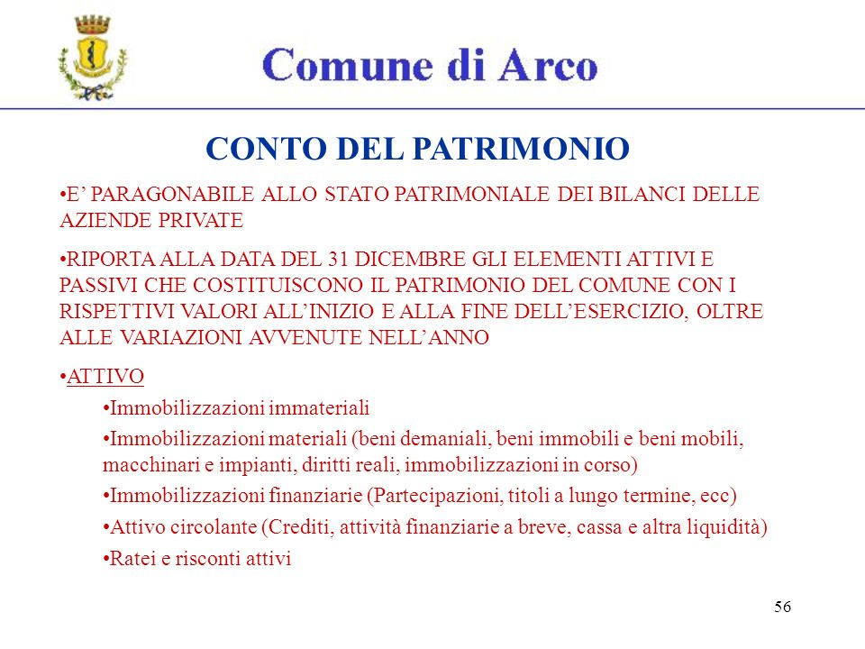 56 CONTO DEL PATRIMONIO E PARAGONABILE ALLO STATO PATRIMONIALE DEI BILANCI DELLE AZIENDE PRIVATE RIPORTA ALLA DATA DEL 31 DICEMBRE GLI ELEMENTI ATTIVI E PASSIVI CHE COSTITUISCONO IL PATRIMONIO DEL COMUNE CON I RISPETTIVI VALORI ALLINIZIO E ALLA FINE DELLESERCIZIO, OLTRE ALLE VARIAZIONI AVVENUTE NELLANNO ATTIVO Immobilizzazioni immateriali Immobilizzazioni materiali (beni demaniali, beni immobili e beni mobili, macchinari e impianti, diritti reali, immobilizzazioni in corso) Immobilizzazioni finanziarie (Partecipazioni, titoli a lungo termine, ecc) Attivo circolante (Crediti, attività finanziarie a breve, cassa e altra liquidità) Ratei e risconti attivi