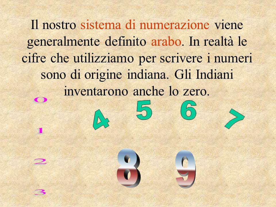Il nostro sistema di numerazione viene generalmente definito arabo. In realtà le cifre che utilizziamo per scrivere i numeri sono di origine indiana.