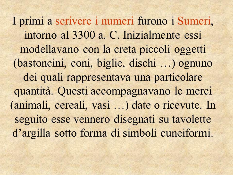 I primi a scrivere i numeri furono i Sumeri, intorno al 3300 a. C. Inizialmente essi modellavano con la creta piccoli oggetti (bastoncini, coni, bigli