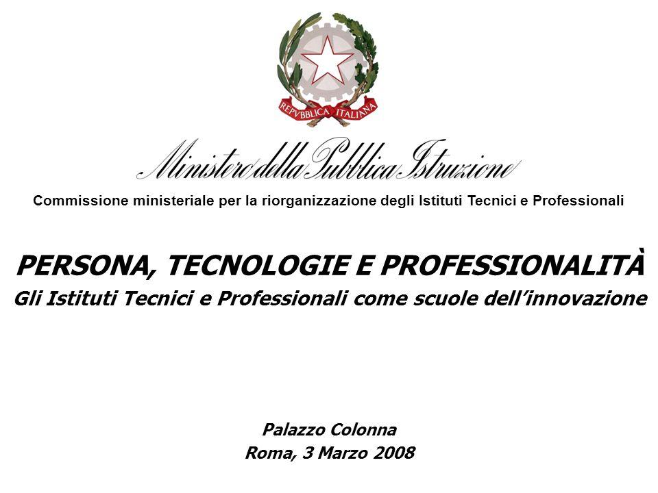 PERSONA, TECNOLOGIE E PROFESSIONALITÀ Gli Istituti Tecnici e Professionali come scuole dellinnovazione Commissione ministeriale per la riorganizzazione degli Istituti Tecnici e Professionali Palazzo Colonna Roma, 3 Marzo 2008