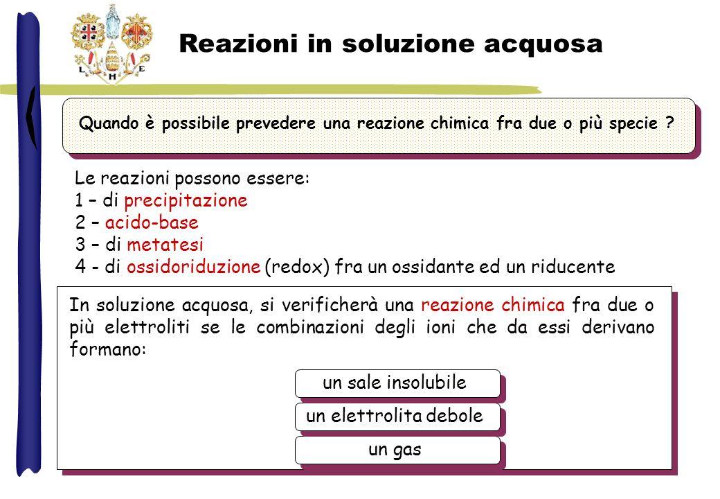 Reazioni in soluzione acquosa In soluzione acquosa, si verificherà una reazione chimica fra due o più elettroliti se le combinazioni degli ioni che da