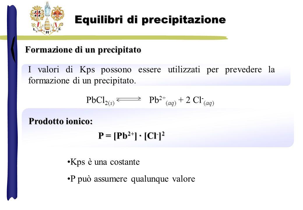 Formazione di un precipitato I valori di Kps possono essere utilizzati per prevedere la formazione di un precipitato. Prodotto ionico: P = [Pb 2+ ] ·