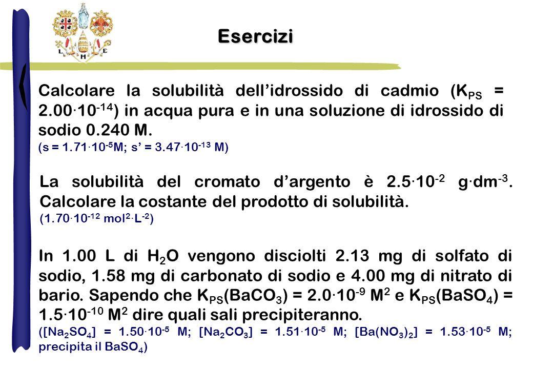 Esercizi Calcolare la solubilità dellidrossido di cadmio (K PS = 2.00·10 -14 ) in acqua pura e in una soluzione di idrossido di sodio 0.240 M. (s = 1.