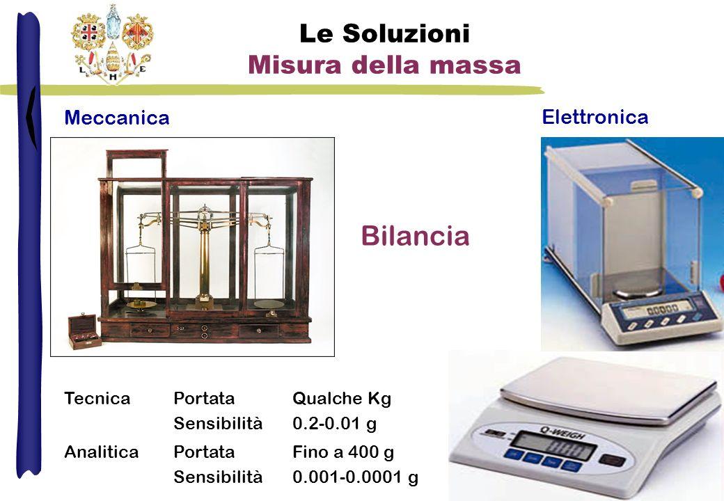Le Soluzioni Misura della massa Bilancia Meccanica TecnicaPortata Sensibilità Qualche Kg 0.2-0.01 g AnaliticaPortata Sensibilità Fino a 400 g 0.001-0.0001 g Elettronica