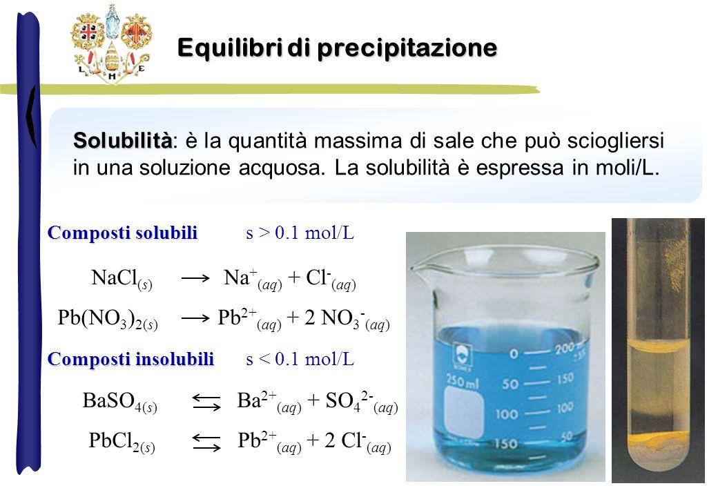 Solubilità Solubilità: è la quantità massima di sale che può sciogliersi in una soluzione acquosa. La solubilità è espressa in moli/L. Equilibri di pr
