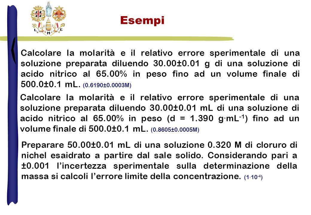 Esempi Calcolare la molarità e il relativo errore sperimentale di una soluzione preparata diluendo 30.00±0.01 g di una soluzione di acido nitrico al 6
