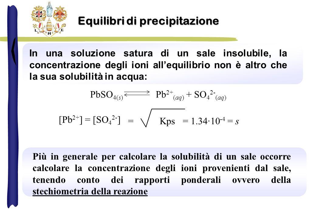 In una soluzione satura di un sale insolubile, la concentrazione degli ioni allequilibrio non è altro che la sua solubilità in acqua: PbSO 4(s) Pb 2+ (aq) + SO 4 2- (aq) = Kps = 1.34·10 -4 = s [Pb 2+ ] = [SO 4 2- ] Più in generale per calcolare la solubilità di un sale occorre calcolare la concentrazione degli ioni provenienti dal sale, tenendo conto dei rapporti ponderali ovvero della stechiometria della reazione Equilibri di precipitazione