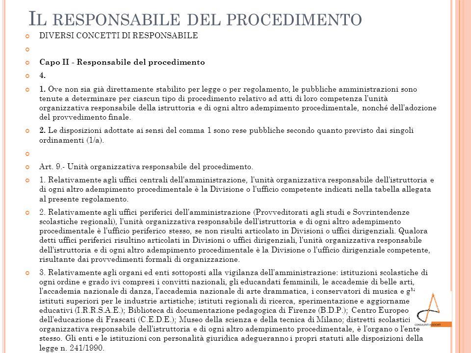I L RESPONSABILE DEL PROCEDIMENTO DIVERSI CONCETTI DI RESPONSABILE Capo II - Responsabile del procedimento 4. 1. Ove non sia già direttamente stabilit