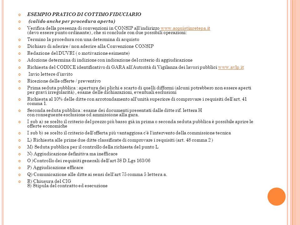 ESEMPIO PRATICO DI COTTIMO FIDUCIARIO (valido anche per procedura aperta) Verifica della presenza di convenzioni in CONSIP allindirizzo www.acquistinr