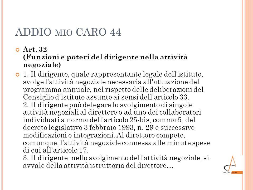 ADDIO MIO CARO 44 Art. 32 (Funzioni e poteri del dirigente nella attività negoziale) 1. Il dirigente, quale rappresentante legale dell'istituto, svolg