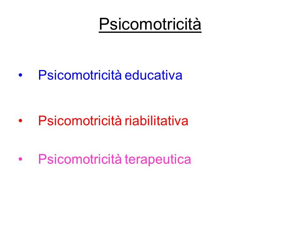 Psicomotricità Psicomotricità educativa Psicomotricità riabilitativa Psicomotricità terapeutica