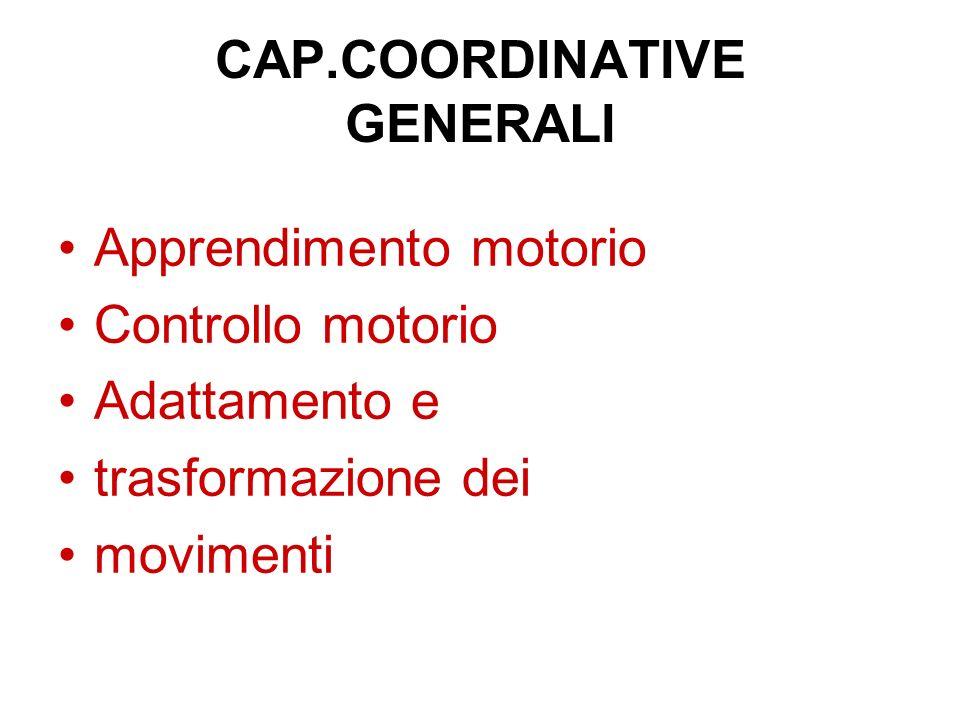 CAP.COORDINATIVE GENERALI Apprendimento motorio Controllo motorio Adattamento e trasformazione dei movimenti
