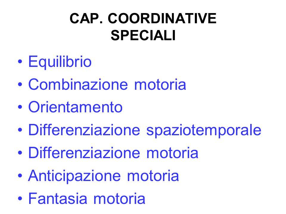 CAP. COORDINATIVE SPECIALI Equilibrio Combinazione motoria Orientamento Differenziazione spaziotemporale Differenziazione motoria Anticipazione motori