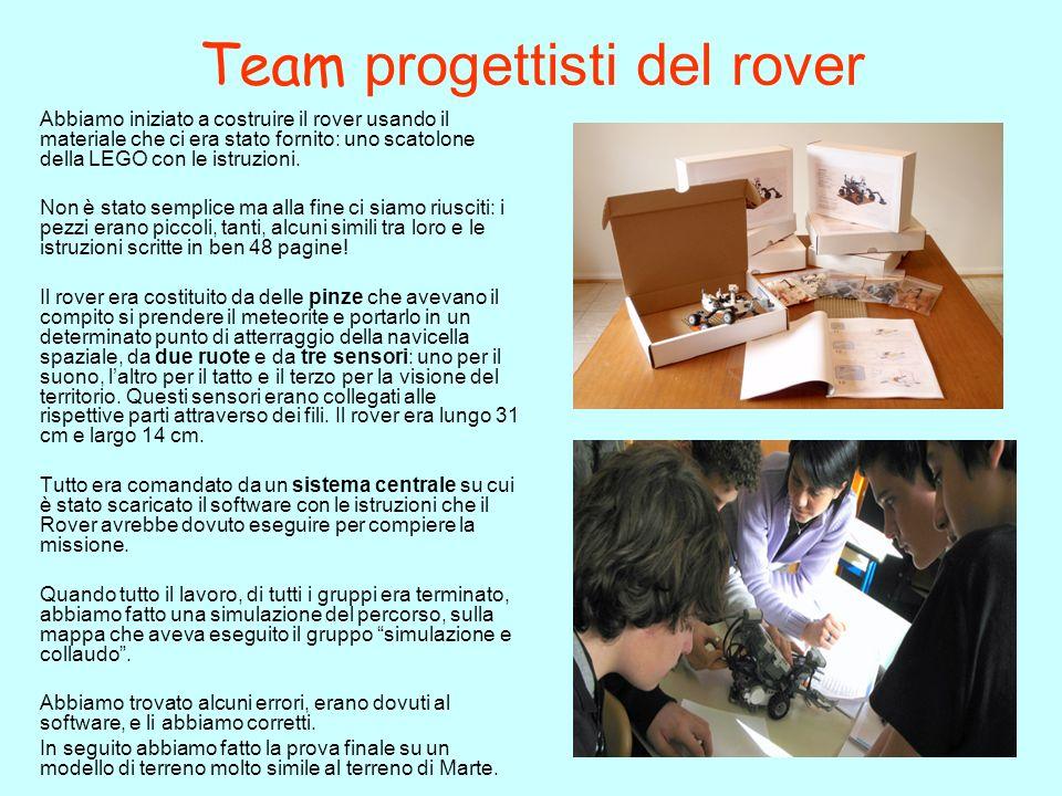 Team Sviluppo Software Abbiamo dovuto imparare ad usare il software di programmazione del rover, a capire come eseguire i comandi e ad eseguire il download dal computer allunità di controllo del rover Abbiamo dovuto impartire al rover i comandi BASE per fargli eseguire tutte le operazioni della missione