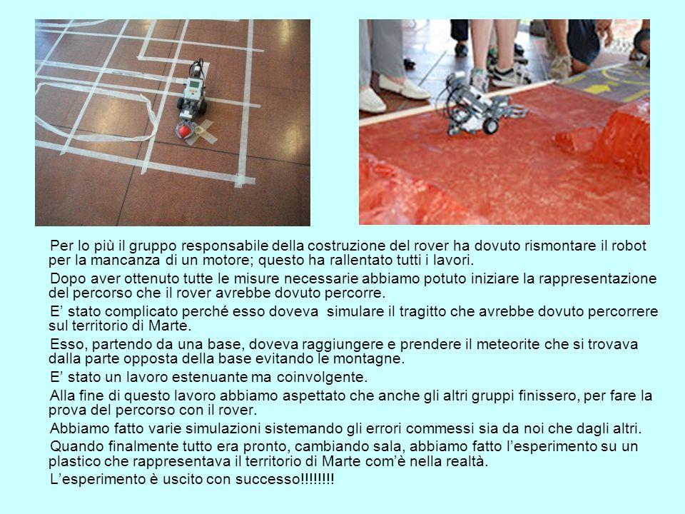 Per lo più il gruppo responsabile della costruzione del rover ha dovuto rismontare il robot per la mancanza di un motore; questo ha rallentato tutti i