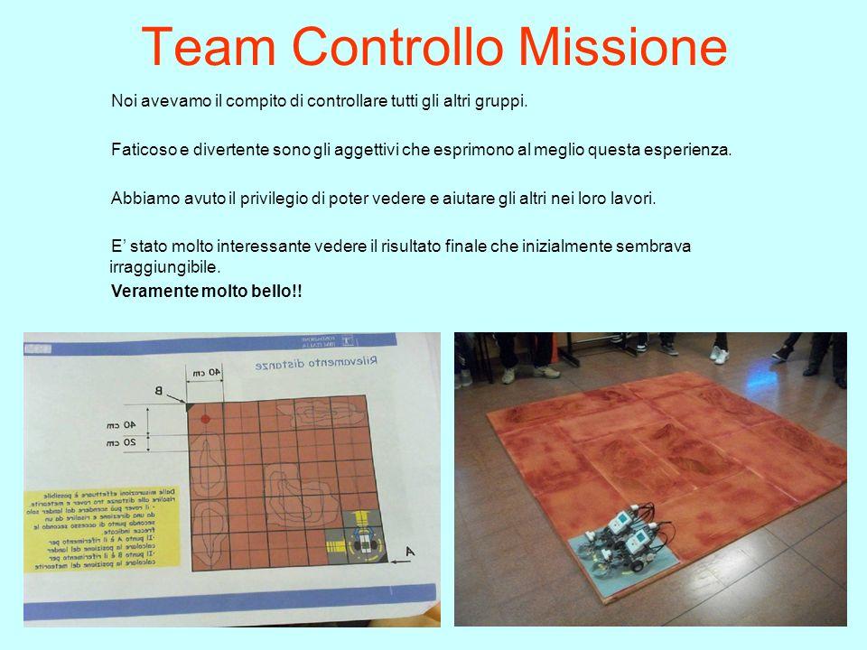 Team Controllo Missione Noi avevamo il compito di controllare tutti gli altri gruppi. Faticoso e divertente sono gli aggettivi che esprimono al meglio