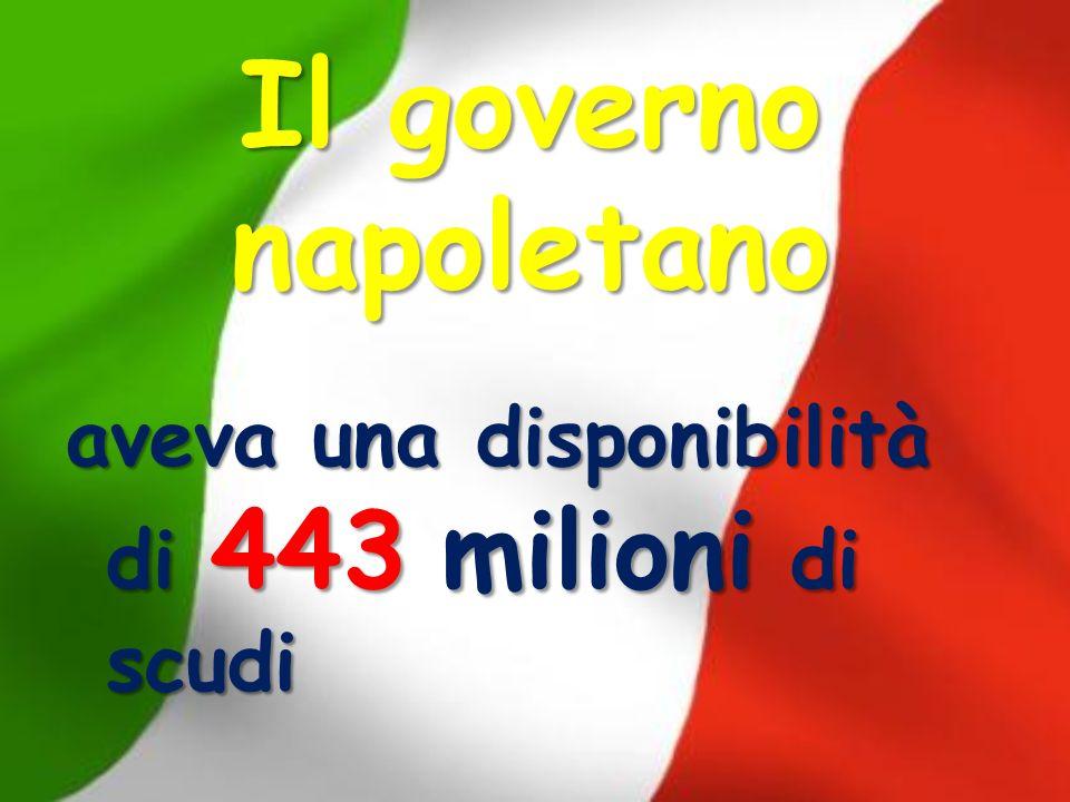 Il governo napoletano aveva una disponibilità di 443 milioni di scudi