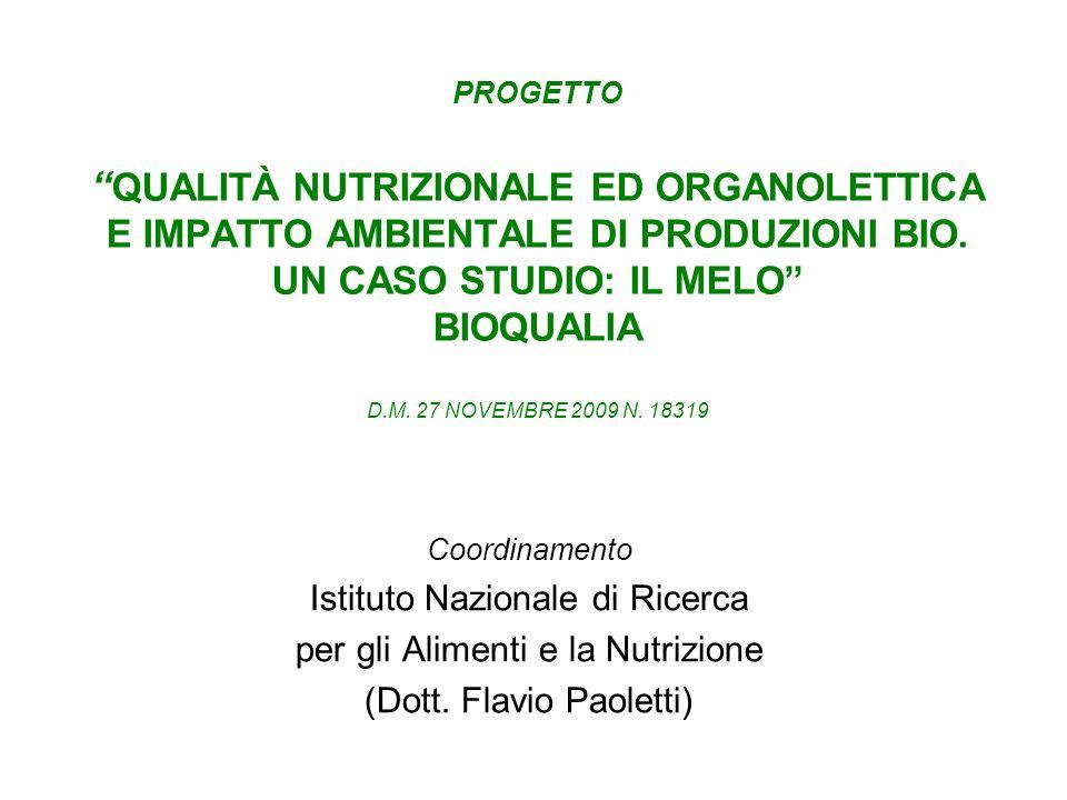 PROGETTO QUALITÀ NUTRIZIONALE ED ORGANOLETTICA E IMPATTO AMBIENTALE DI PRODUZIONI BIO. UN CASO STUDIO: IL MELO BIOQUALIA D.M. 27 NOVEMBRE 2009 N. 1831