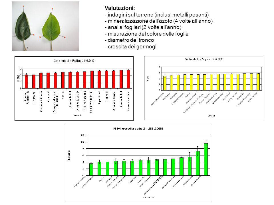 Valutazioni: - indagini sul terreno (inclusi metalli pesanti) - mineralizzazione dellazoto (4 volte allanno) - analisi fogliari (2 volte allanno) - mi