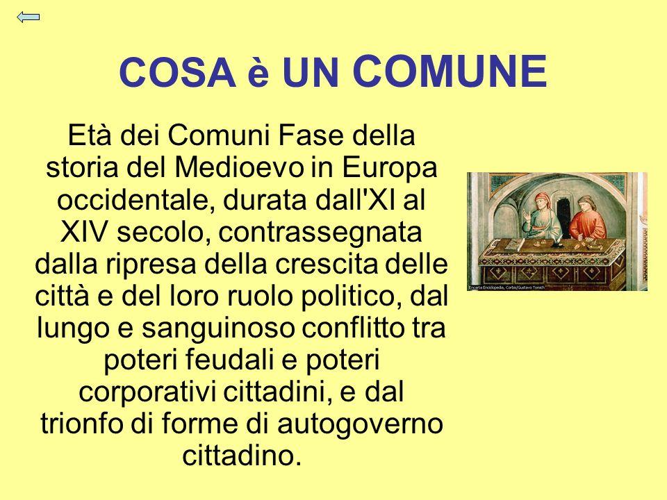 COSA è UN COMUNE Età dei Comuni Fase della storia del Medioevo in Europa occidentale, durata dall'XI al XIV secolo, contrassegnata dalla ripresa della