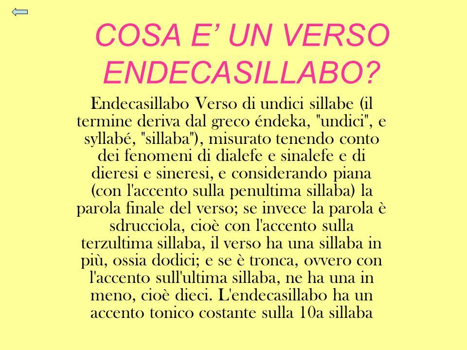 COSA E UN VERSO ENDECASILLABO? Endecasillabo Verso di undici sillabe (il termine deriva dal greco éndeka,