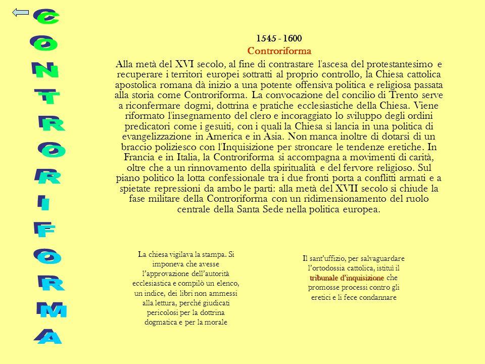 1545 - 1600 Controriforma Alla metà del XVI secolo, al fine di contrastare l'ascesa del protestantesimo e recuperare i territori europei sottratti al