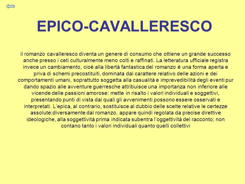 EPICO-CAVALLERESCO il romanzo cavalleresco diventa un genere di consumo che ottiene un grande successo anche presso i ceti culturalmente meno colti e