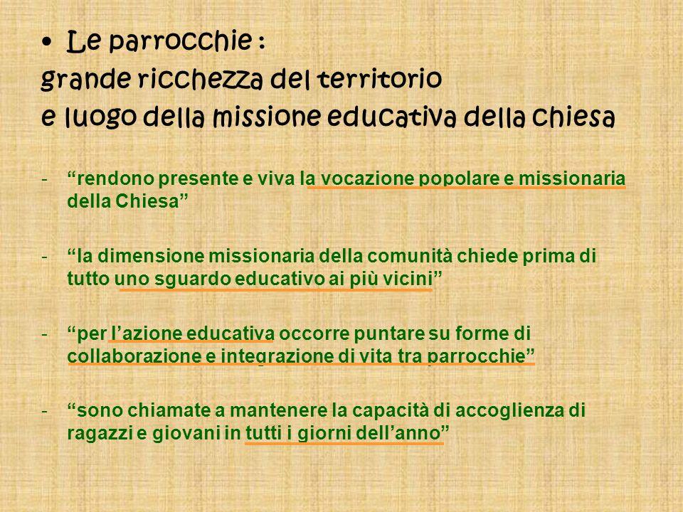 Le parrocchie : grande ricchezza del territorio e luogo della missione educativa della chiesa -rendono presente e viva la vocazione popolare e mission
