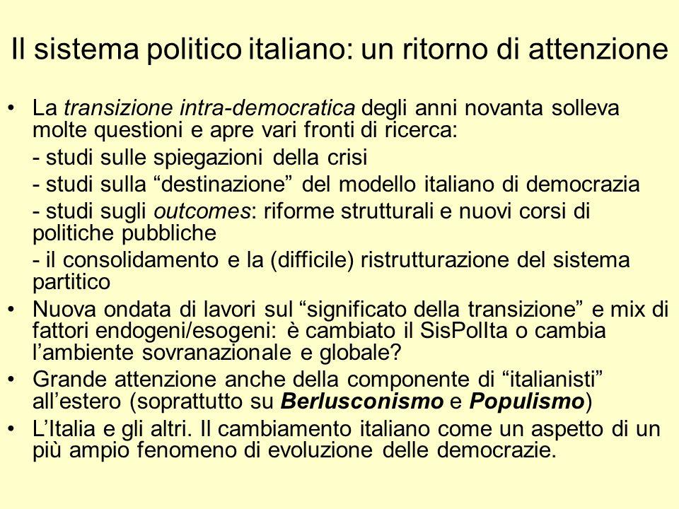 Il sistema politico italiano: un ritorno di attenzione La transizione intra-democratica degli anni novanta solleva molte questioni e apre vari fronti