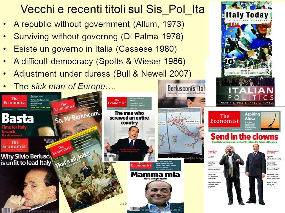 Vecchi e recenti titoli sul Sis_Pol_Ita A republic without government (Allum, 1973) Surviving without governng (Di Palma 1978) Esiste un governo in It