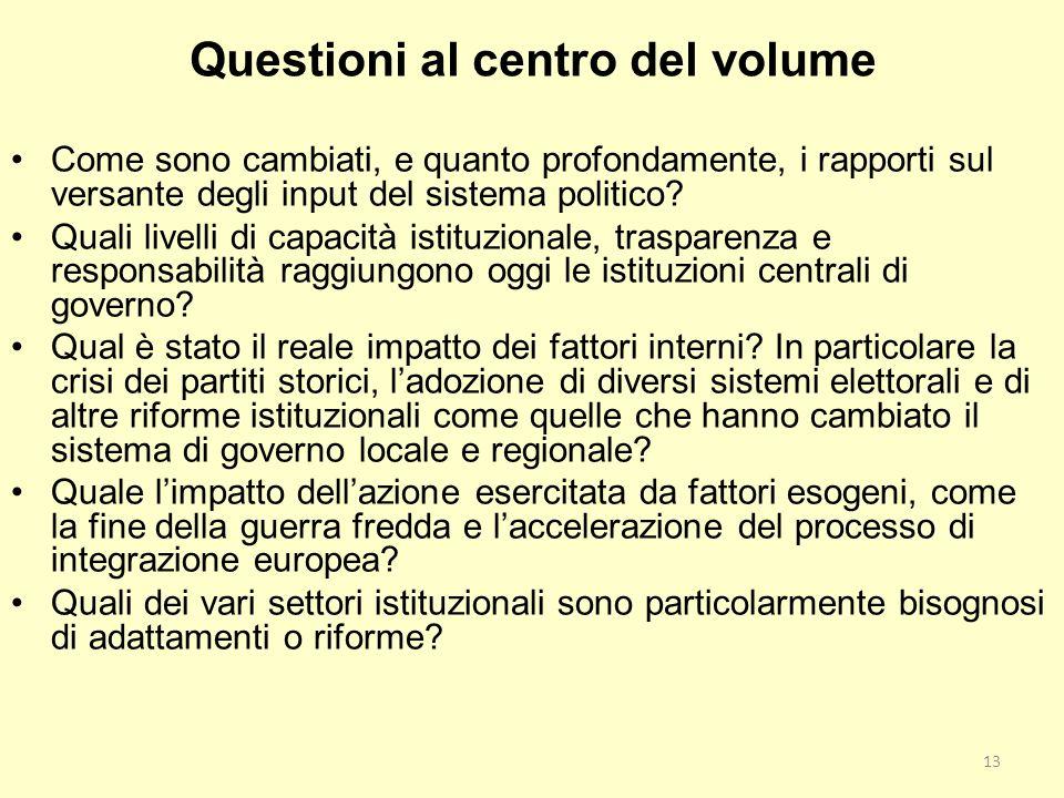 Questioni al centro del volume Come sono cambiati, e quanto profondamente, i rapporti sul versante degli input del sistema politico? Quali livelli di