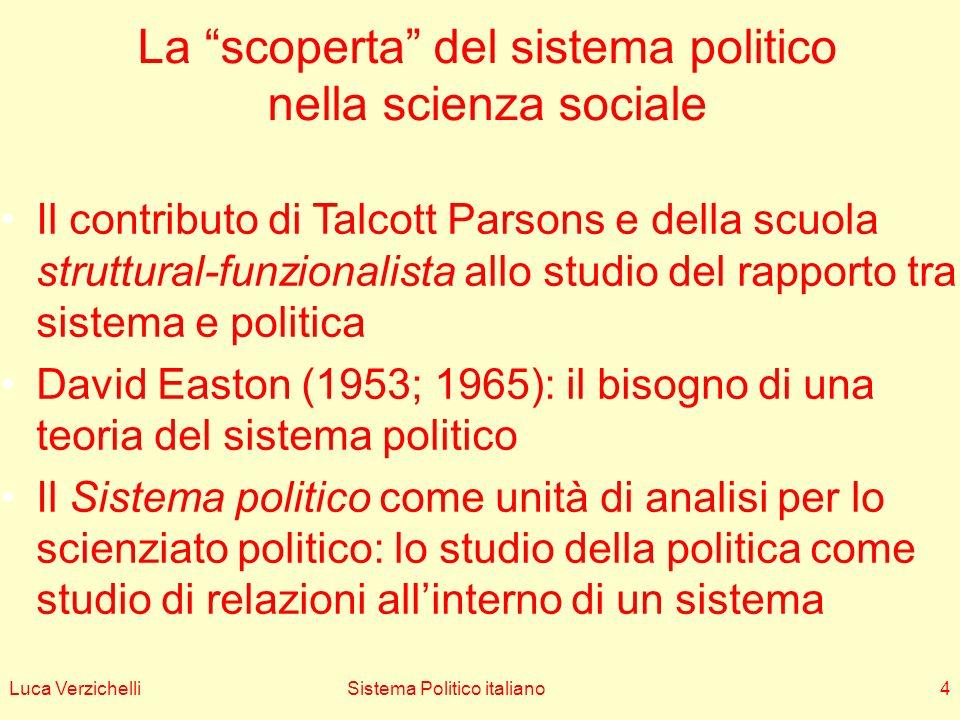 Luca VerzichelliSistema Politico italiano4 La scoperta del sistema politico nella scienza sociale Il contributo di Talcott Parsons e della scuola stru