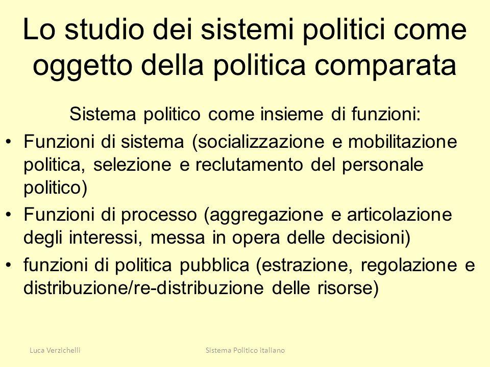 Lo studio dei sistemi politici come oggetto della politica comparata Sistema politico come insieme di funzioni: Funzioni di sistema (socializzazione e