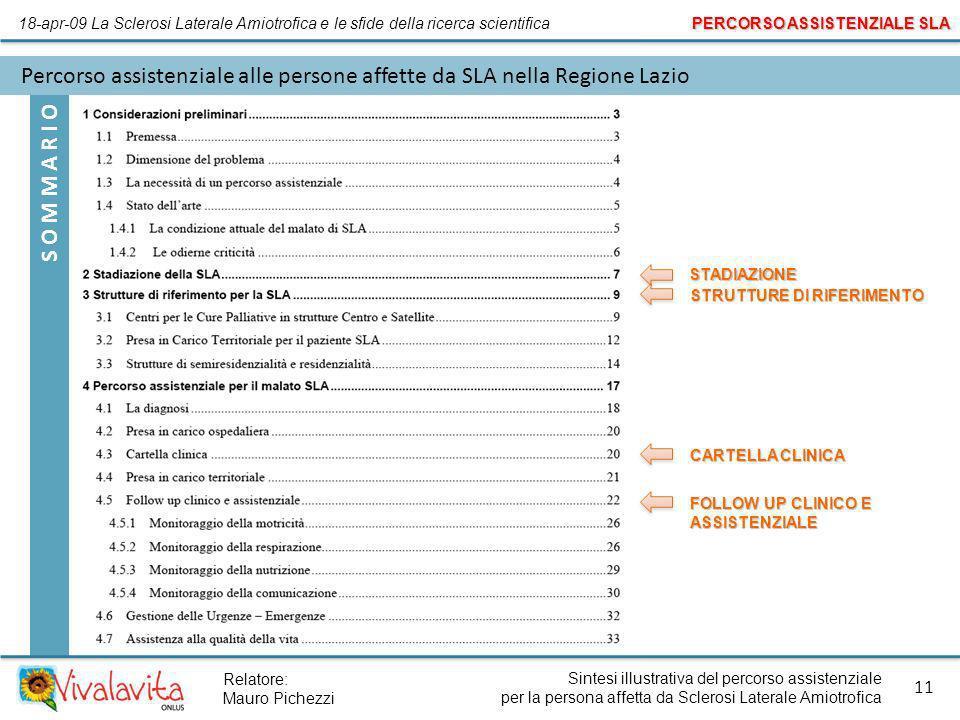 S O M M A R I O Sintesi illustrativa del percorso assistenziale per la persona affetta da Sclerosi Laterale Amiotrofica 11 Relatore: Mauro Pichezzi Pe