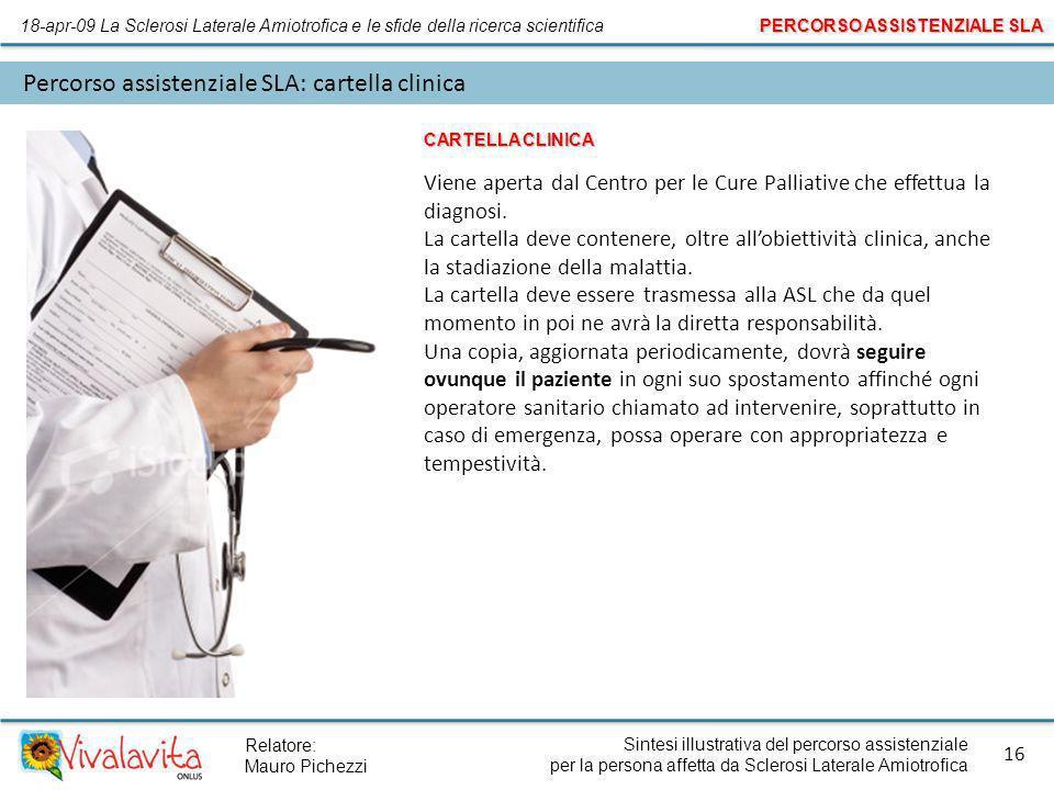 Sintesi illustrativa del percorso assistenziale per la persona affetta da Sclerosi Laterale Amiotrofica 16 Relatore: Mauro Pichezzi Percorso assistenz