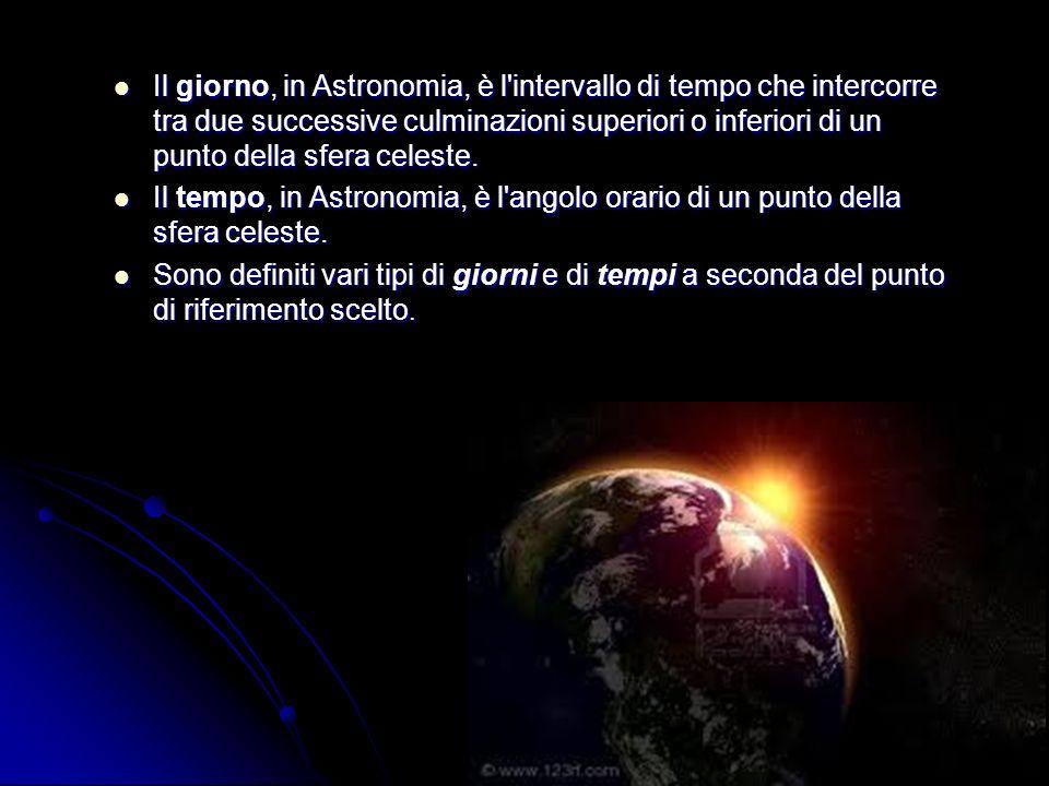 Il giorno, in Astronomia, è l'intervallo di tempo che intercorre tra due successive culminazioni superiori o inferiori di un punto della sfera celeste