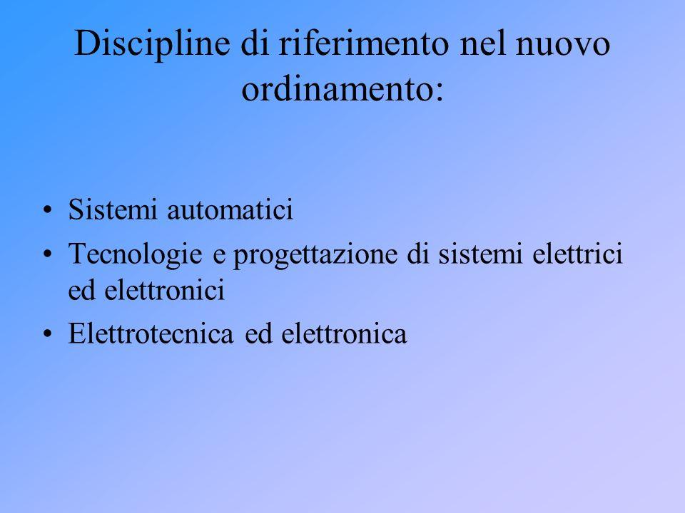 Discipline di riferimento nel nuovo ordinamento: Sistemi automatici Tecnologie e progettazione di sistemi elettrici ed elettronici Elettrotecnica ed e
